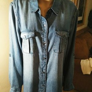 Vince camuto jean shirt NWOT